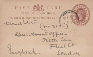 Cape of Good Hope Postal Card to London 1880s