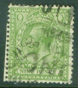 Great Britain Scott 183 KGV 9p with 1922 watermark CV$35