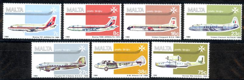 Malta Sc# C15-C21 SG# 729/35 MNH 1984 Air Post