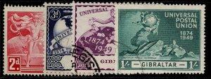 GIBRALTAR GVI SG136-139, anniversary of UPU set, FINE USED.