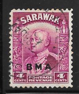Sarawak 138: 4c Sir Charles Vyner Brooke overprint, used, F-VF