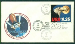 CHALLENGER cover 25th ANNIVERSARY NASA w/$9.35 stamp