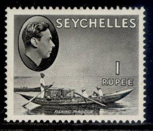 SEYCHELLES GVI SG146ab, 1r grey-black, M MINT.