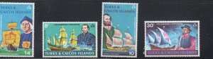 Turks & Caicos Sc 253-56 1972 Early Explorers stamp set mint NH
