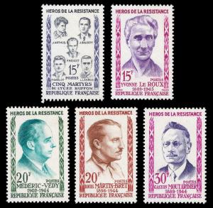 France 1959 Sc 915-19 MNH Heroes of the French Reisitance