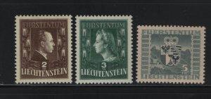 LIECHTENSTEIN 215-217 (3) Set, Hinged, 1944-45 Prince Franz joseph II and Arms