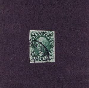 SC# 15 USED 10 CENT WASHINGTON, 1855, PSAG CERT GRADED VF XF 85