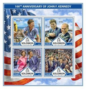 SOLOMON ISLANDS - 2017 - J F Kennedy, 100th Birth Anniv - Perf 4v Sheet - MNH