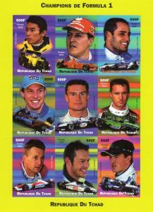 Chad 2002 Champions of Formula 1 Shlt (9) Imperforated mnh