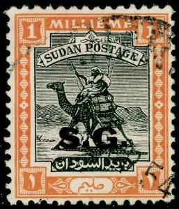 SUDAN SGO43, 1m black & orange, FINE USED.