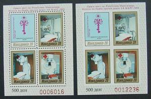 Macedonia, Scott RA31a, perf and imperf mini sheets, MNH