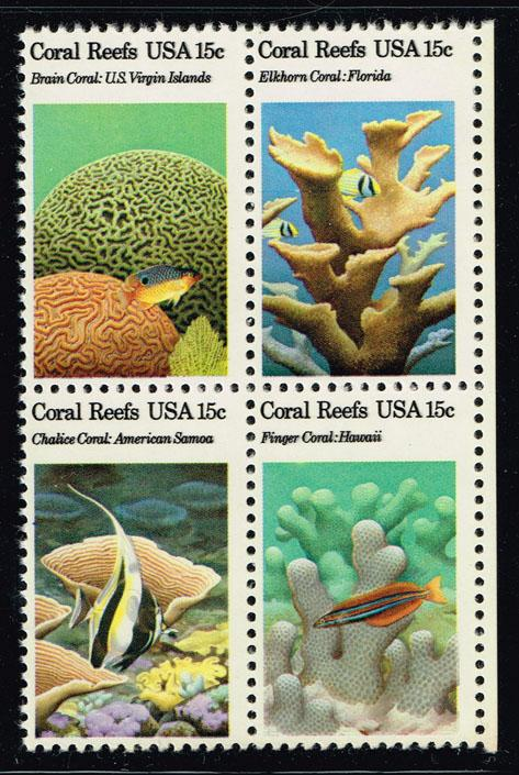 US #1830a Coral Reefs Block of 4; MNH (1.25)