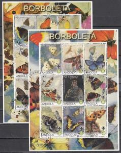 Angola, 2000 Cinderella issue. Butterflies & Scout on 2 sheets. Canceled.