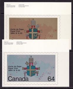 Canada, Scott cat. 1030-1031. Pope John Paul II, Agency Post Cards. ^