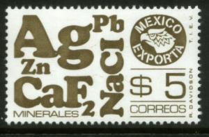 MEXICO Exporta 1120, $5P Minerals 14 Unwmkd Fosfo Paper 5 MNH