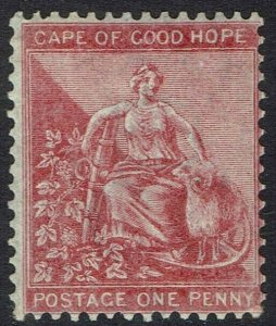 CAPE OF GOOD HOPE 1864 HOPE SEATED 1D WMK CROWN CC WITH OUTER FRAME LINE