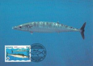 Nauru 1997 Maxicard Sc #443b 30c Wahoo fish WWF