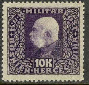 BOSNIA AND HERZEGOVINA 1916-17 10K FRANZ JOSEPH Portrait Issue Sc 104 MH