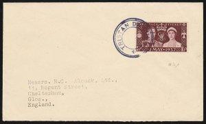 TRISTAN DA CUNHA : 1936 Cover franked Coronation 1½d type VII cachet To England