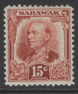 SARAWAK SG100 1932 15c CHESTNUT MTD MINT