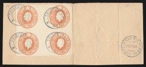 TRISTAN DA CUNHA : 1921 Precursor use GB KGV 2d block envelope cut-out. RARE!