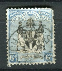 NYASALAND; 1898 classic Arms issue fine used 6d. value
