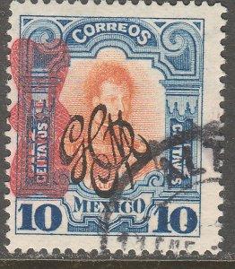 MEXICO 545, 10¢ Corbata & Carranza Rev overprints USED. VF. (1330)