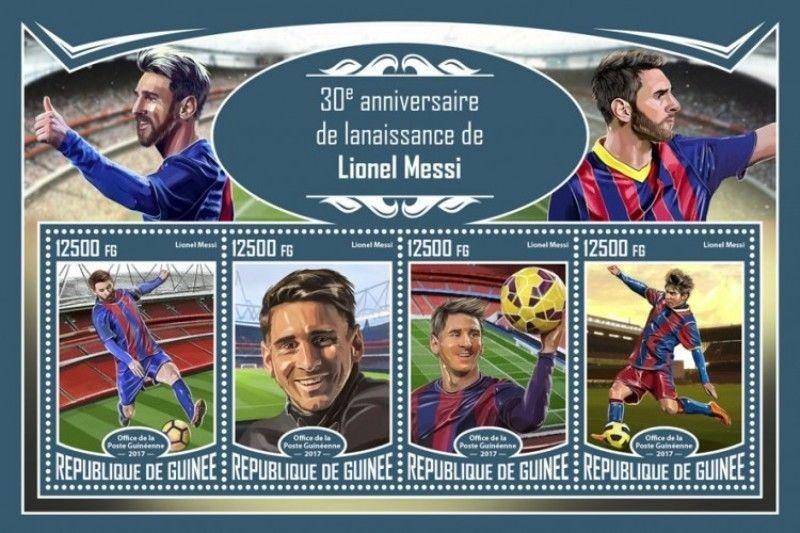 Guinea - 2017 Footballer Lionel Messi - 4 Stamp Sheet - GU17318a
