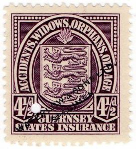 (I.B-CK) Guernsey Revenue : States Insurance 4½d (unlisted colour)