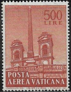 Vatican City Air Post Stamp - Scott #C44/AP13 500 l Orange Brown Mint/LH 1959