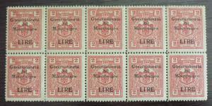 1942 ITALY OCCUP. MONTENEGRO-REVENUES-CAT. 200 EURO-BLOCK OF 10 R! yugoslavia J1