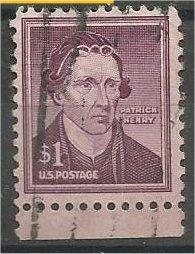 UNITED STATES, 1955, used $1, Patrick Henry, Scott 1052