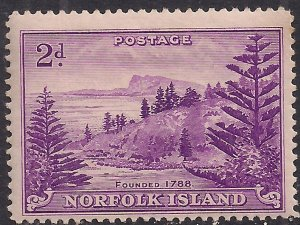 Norfolk Island 1947 KGV1 2d Reddish Violet MM SG 4 ( J663 )