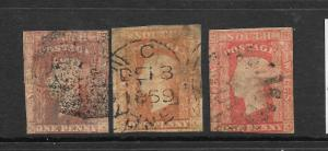 NEW SOUTH WALES 1856-60    1d    QV  IMPERF  FU  3 SHADES  SG 107/09  ...
