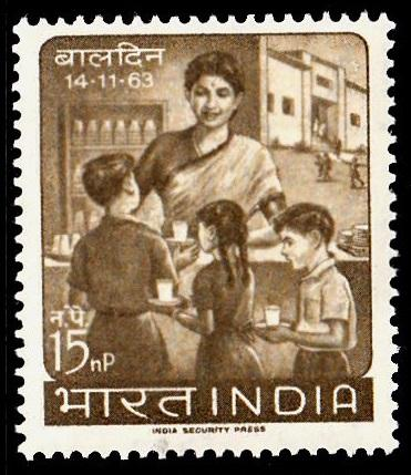 India 1963 Children's Day SG177 15n.p Bistre-brown MM