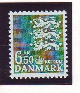 Denmark Sc 805 1986 6.5 kr deep green 3 lions stamp mint NH
