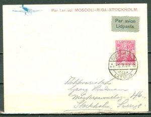LATVIA 1937 1st FLIGHT AIR MAIL COVER  RIGA-STOCKHOLM