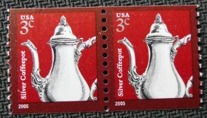 US #3759 MNH Coil Pair, Silver Coffeepot, SCV $.30