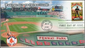 AO4341-1, 2008, Take me out to the Ballgame, FDC, Add-on Cachet. Fenway, 4 Bar