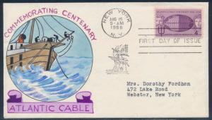 #1112-18 ATLANTIC CABLE ON FDC HAND PAINTED WRIGHT CACHET BT879