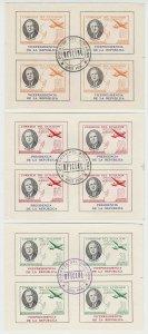ECUADOR 1949 ROOSEVELT OFFICIAL Bts O268, O270, O273 MINISHEETS OF 4 QUITO PMK