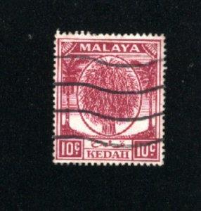 Malaya Kedah #69  used VF 1950-55 PD