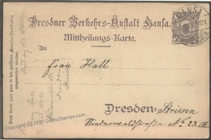 Germany 1899 DRESDEN Hansa Beehive Local Private Stadtpost GS Postal Car G102396