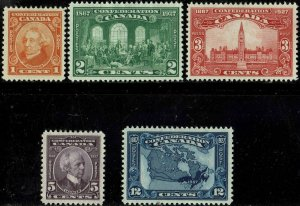 CANADA #141-45 1927 1c TO 12c CONFEDERATION 60th ANNIVERSARY MINT-OG/H--VF/XF