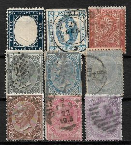 COLLECTION LOT OF 9 ITALY STAMPS 1862+ CV + $73