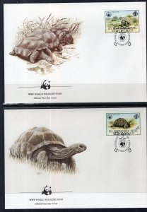 Seychelles Zil Elwannyen Sesel 106-109 Turtles Set of Four WWF U/A FDC