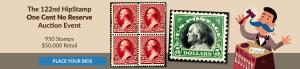 The 122nd HipStamp One Cent Auction Event