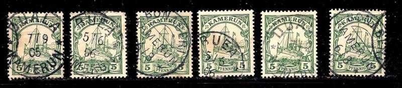 Cameroun German Dominion Scott #8x6 copies ,used, notable cancels