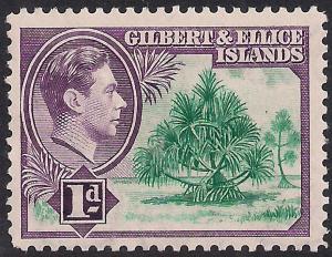 Gilbert & Ellice Island 1939 - 55 KGV1 1d Pandanus Pine MM SG 44 ( A176 )
