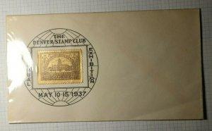 Denver Stamp Club APS Denver CO Collared Framed Poster Stamp Cover 1937
